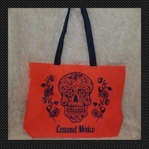 Handbags - Neon Orange and Navy Cozumel Mexico Bag